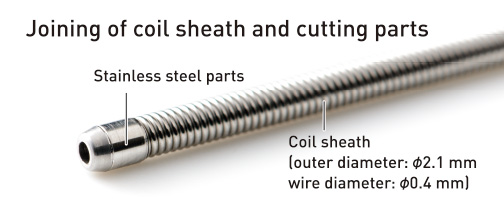 Joining of coil sheath and cutting parts
